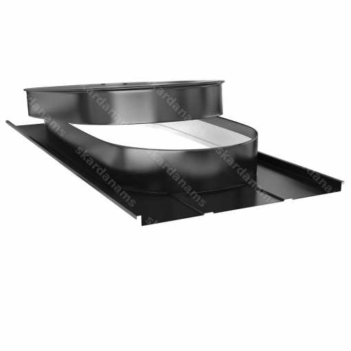 Jumta lūka tips 3 ar ovālu vāku ievbūvētu valcprofila tipa jumtā.