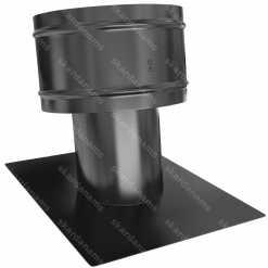 Ventilācijas izvads tips 1 ar stiprinājumu pie slīpas jumta virsmas.